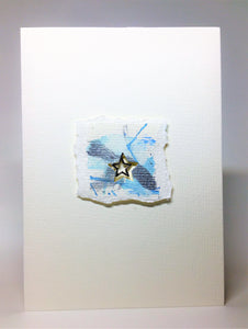 Original Handcrafted Christmas Card - Star Collection - White, Blue and Silver Abstract with Star - eDgE dEsiGn London