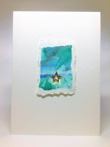 Original Handcrafted Christmas Card - Star Collection - Jade, Blue, White and Silver Abstract with Star - eDgE dEsiGn London