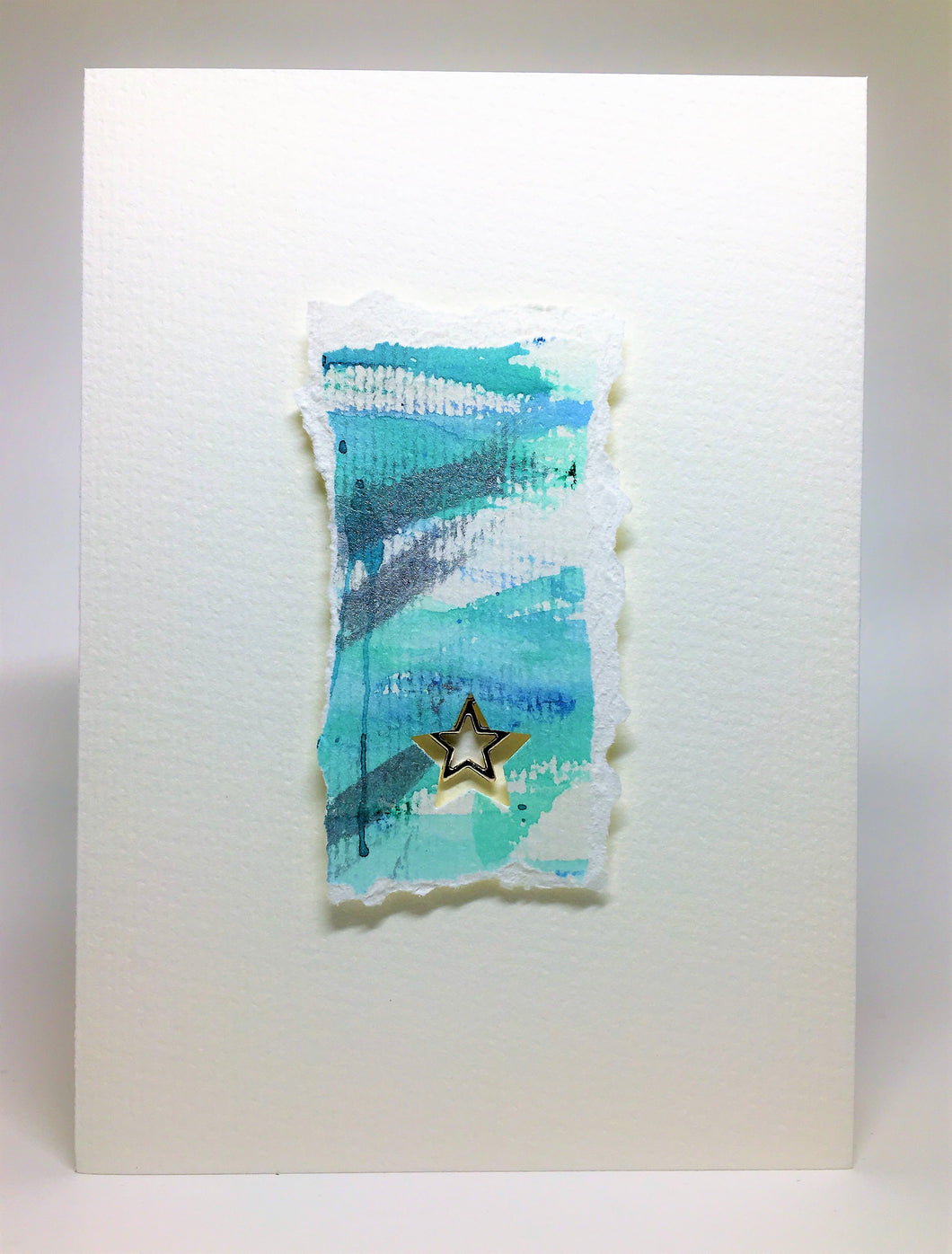 Original Handcrafted Christmas Card - Star Collection - Jade and Silver Abstract with Star - eDgE dEsiGn London