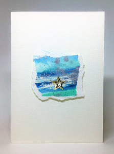 Original Handcrafted Christmas Card - Star Collection - Blue, Silver, Jade and Turquoise Abstract with Star - eDgE dEsiGn London