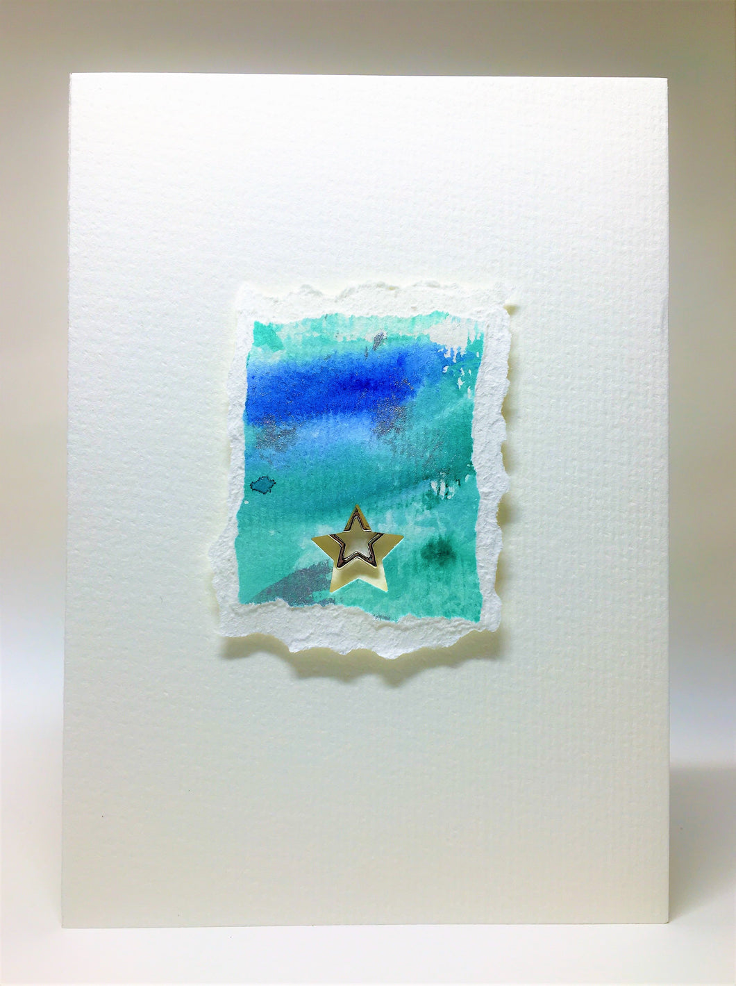 Original Handcrafted Christmas Card - Star Collection - Jade, Blue and Silver with Star - eDgE dEsiGn London