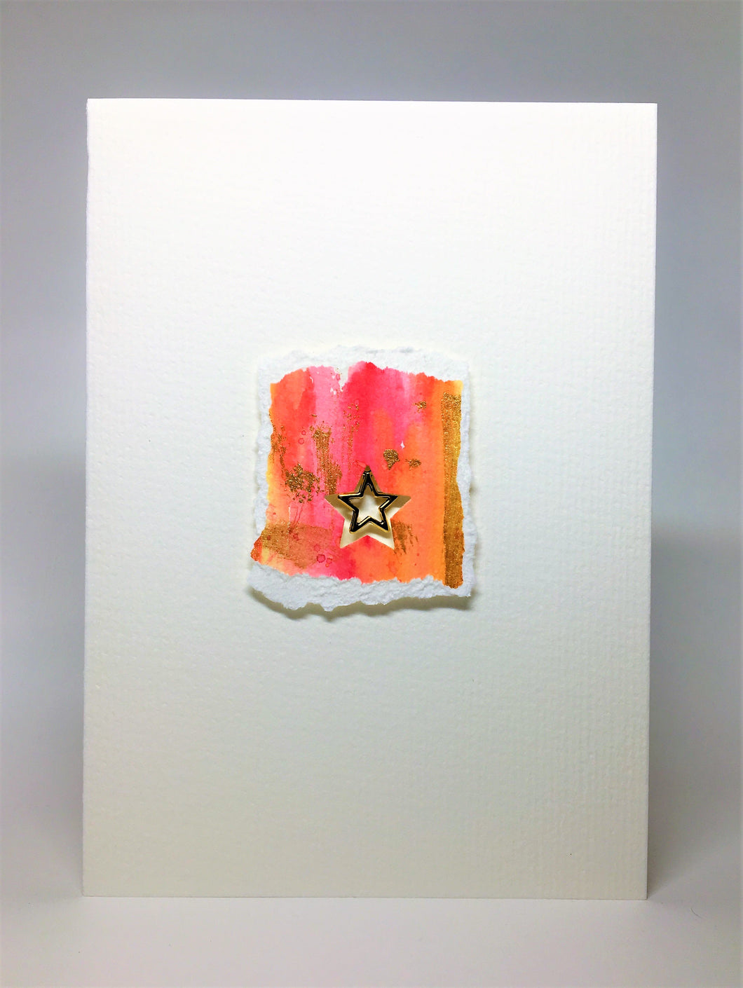 Original Handcrafted Christmas Card - Star Collection - Pink, Orange, Yellow and Gold - eDgE dEsiGn London