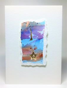 Original Handcrafted Christmas Card - Star Collection - Pink, Blue, Orange, Purple and Gold - eDgE dEsiGn London