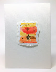Original Handcrafted Christmas Card - Star Collection - Yellow, Orange and Gold - eDgE dEsiGn London