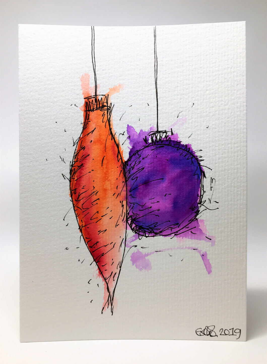 Original Hand Painted Christmas Card - Bauble Collection - Abstract Orange and Purple - eDgE dEsiGn London