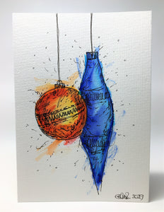 Original Hand Painted Christmas Card - Bauble Collection - Abstract Orange, Yellow and Blue - eDgE dEsiGn London
