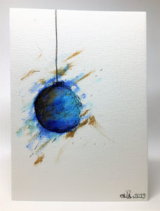 Original Hand Painted Christmas Card - Bauble Collection - Large Blue, Teal and Gold abstract - eDgE dEsiGn London