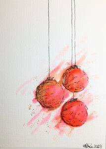 Original Hand Painted Christmas Card - Bauble Collection - Large Pink, Orange, Red and Gold abstract - eDgE dEsiGn London