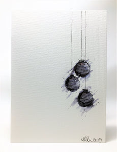 Original Hand Painted Christmas Card - Bauble Collection - Small Black, Grey and Silver abstract - eDgE dEsiGn London