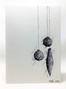 Original Hand Painted Christmas Card - Bauble Collection - Small Grey, Black and Silver abstract - eDgE dEsiGn London