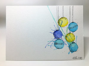 Original Hand Painted Christmas Card - Bauble Collection - Yellow, Blue and Turquoise Splatter - eDgE dEsiGn London