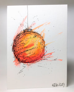 Original Hand Painted Christmas Card - Bauble Collection - Abstract Orange, Pink, Yellow and Red - eDgE dEsiGn London