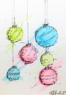 Original Hand Painted Christmas Card - Bauble Collection - Abstract Blue, Green and Pink