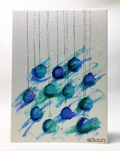 Original Hand Painted Christmas Card - Bauble Collection - Abstract Blue, Turquoise and Green - eDgE dEsiGn London