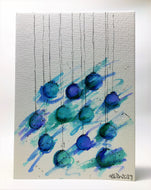 Original Hand Painted Christmas Card - Bauble Collection - Abstract Blue, Turquoise and Green