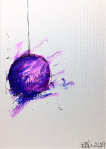 Original Hand Painted Christmas Card - Bauble Collection - Abstract Purple, Lilac and Blue - eDgE dEsiGn London
