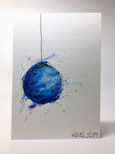Original Hand Painted Christmas Card - Bauble Collection - Abstract Turquoise and Blue - eDgE dEsiGn London