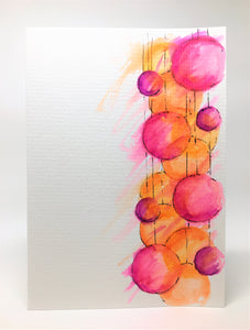 Original Hand Painted Christmas Card - Bauble Collection - Pink, Purple and Orange - eDgE dEsiGn London