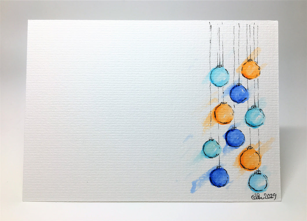 Original Hand Painted Christmas Card - Bauble Collection - Orange, Blue and Turquoise - eDgE dEsiGn London