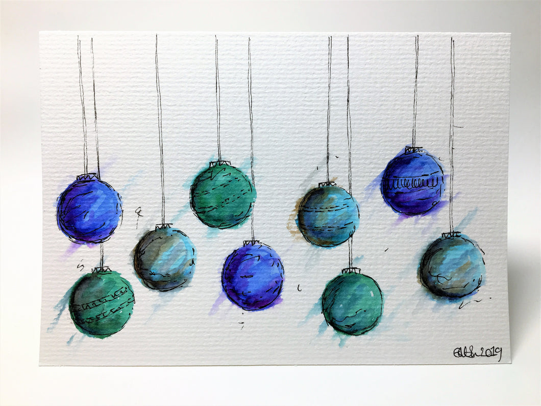 Original Hand Painted Christmas Card - Bauble Collection - Green, Blue and Purple - eDgE dEsiGn London