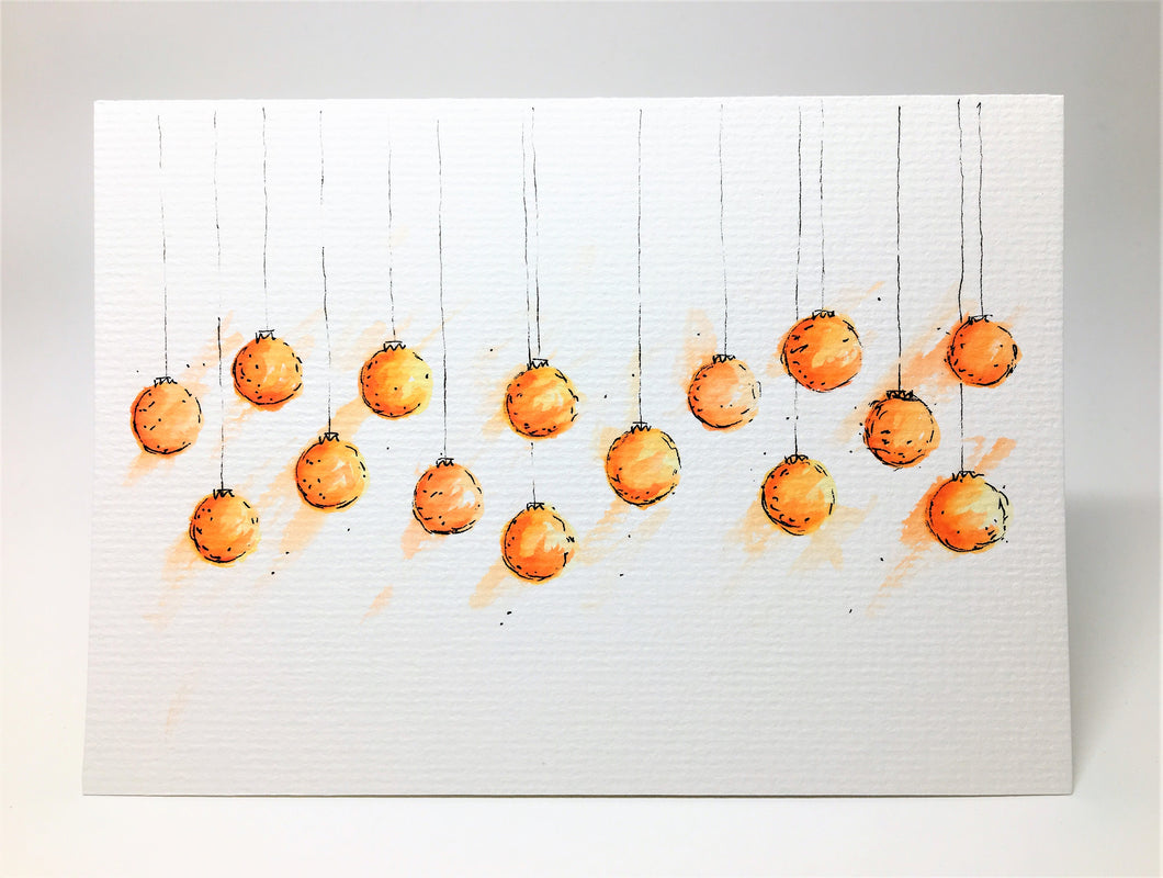 Original Hand Painted Christmas Card - Bauble Collection - Orange and Yellow - eDgE dEsiGn London