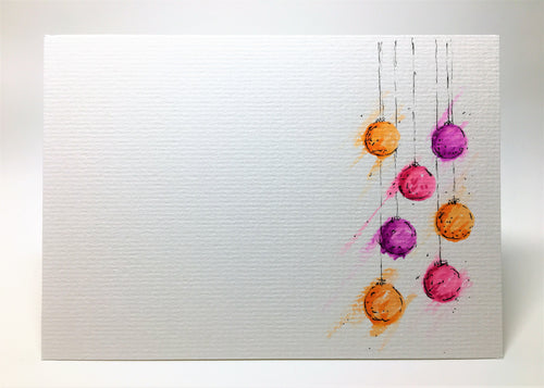 Original Hand Painted Christmas Card - Bauble Collection - Orange, Pink and Purple