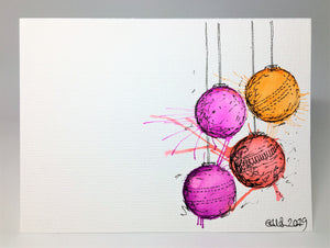 Original Hand Painted Christmas Card - Bauble Collection - Red, Orange and Purple