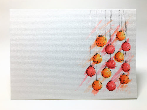 Original Hand Painted Christmas Card - Bauble Collection - Yellow, Orange and Red