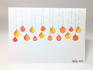 Original Hand Painted Christmas Card - Bauble Collection - Small Abstract Red, Orange and Yellow - eDgE dEsiGn London