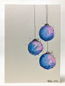 Original Hand Painted Christmas Card - Bauble Collection - Blue and Lilac