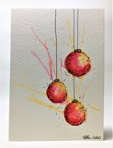 Original Hand Painted Christmas Card - Bauble Collection - Yellow, Orange and Red Splatter
