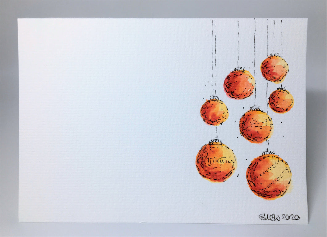 Original Hand Painted Christmas Card - Bauble Collection - Yellow, Orange and Red Design