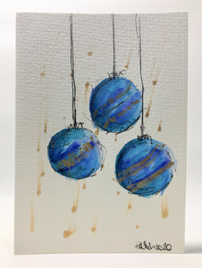 Original Hand Painted Christmas Card - Bauble Collection - Turquoise, Blue and Gold