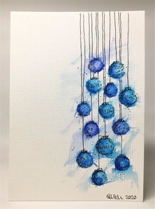 Original Hand Painted Christmas Card - Bauble Collection - Blue and Turquoise