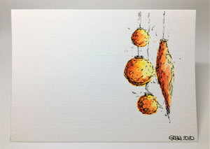 Original Hand Painted Christmas Card - Bauble Collection - Yellow, Orange and Red - eDgE dEsiGn London