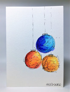 Original Hand Painted Christmas Card - Bauble Collection - Blue, Red and Orange
