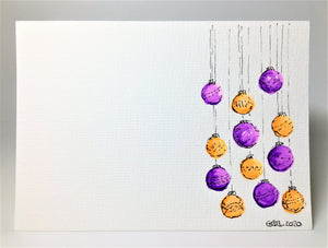 Original Hand Painted Christmas Card - Bauble Collection - Purple and Orange