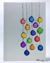 Original Hand Painted Christmas Card - Bauble Collection - Rainbow Colours