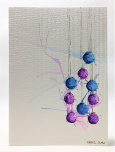 Original Hand Painted Christmas Card - Bauble Collection - Purple and Blue Splatter