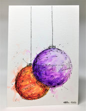 Original Hand Painted Christmas Card - Bauble Collection - Purple and Orange Splatter