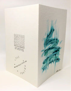 Original Hand Painted Christmas Card - Tree Collection - Abstract Jade/Blue/Green