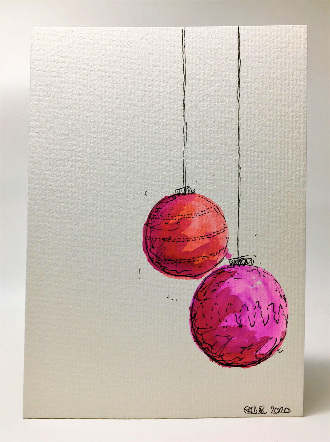 Original Hand Painted Christmas Card - Bauble Collection - Pink, Orange and Red