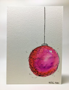 Original Hand Painted Christmas Card - Bauble Collection - Large Pink and Orange - eDgE dEsiGn London