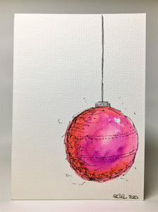 Original Hand Painted Christmas Card - Bauble Collection - Large Pink and Orange