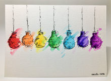 Original Hand Painted Christmas Card - Bauble Collection - Rainbow Lightbulb Baubles