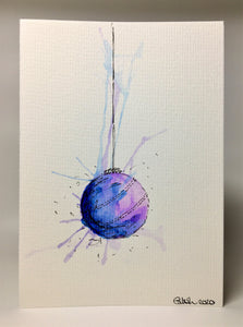 Original Hand Painted Christmas Card - Bauble Collection - Lilac and Blue Splatter