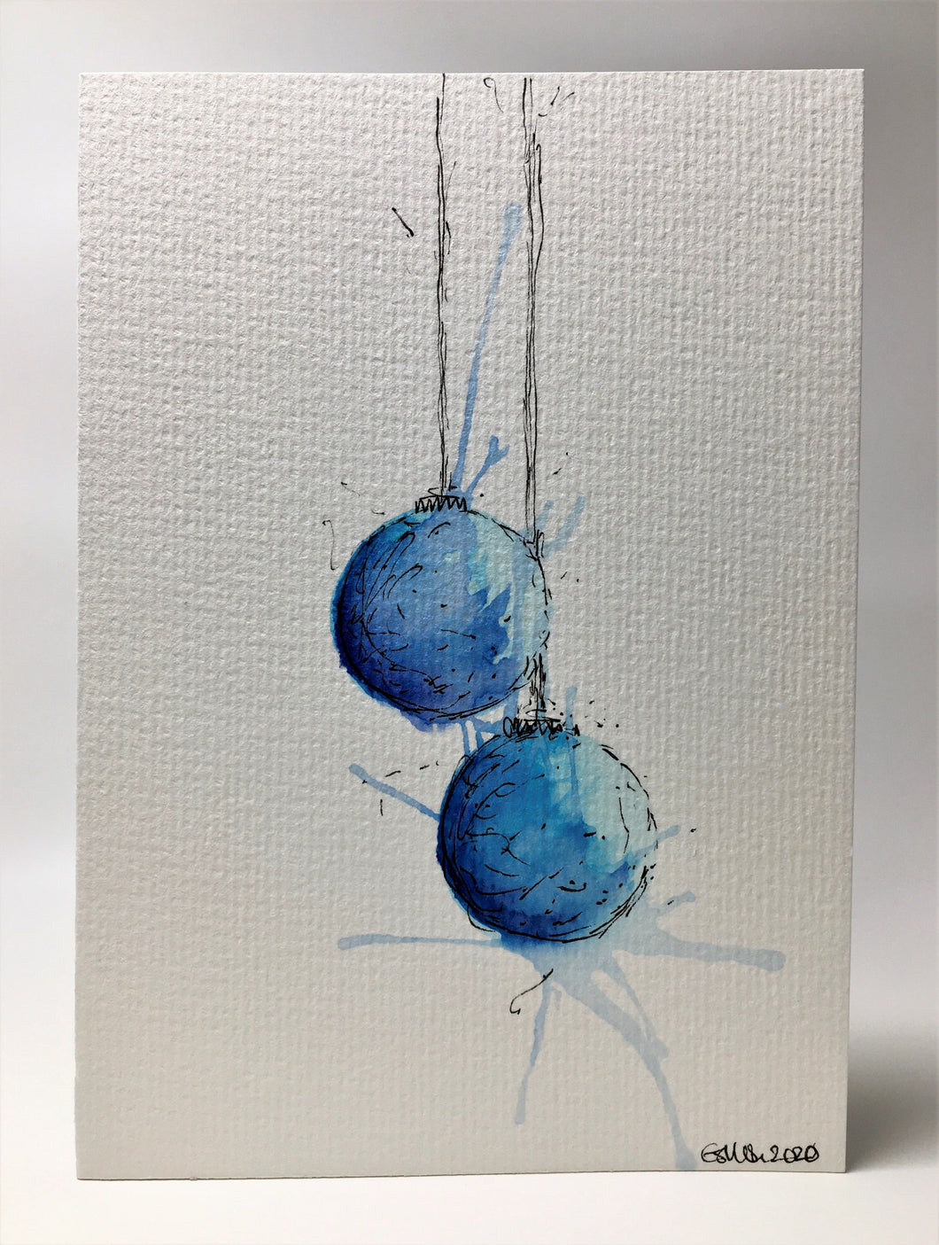 Original Hand Painted Christmas Card - Bauble Collection - Turquoise and Blue Splatter