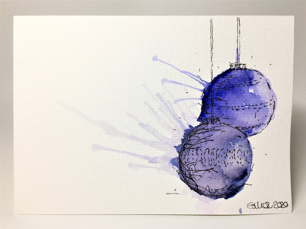 Original Hand Painted Christmas Card - Bauble Collection - Blue and Indigo Splatter
