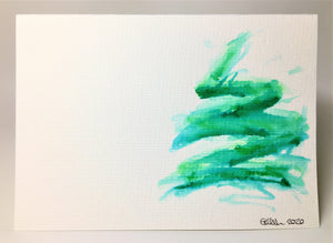 Original Hand Painted Christmas Card - Tree Collection - Big Green