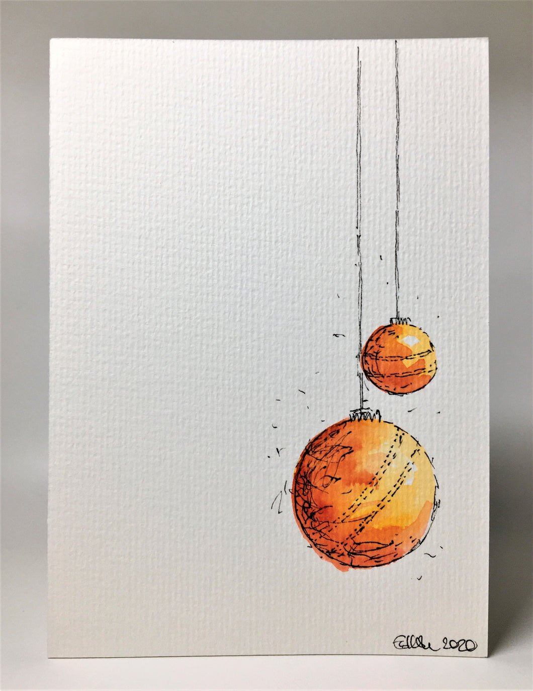 Original Hand Painted Christmas Card - Bauble Collection - Yellow, Red, Orange Design